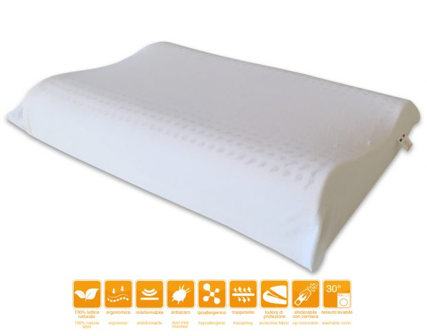 Almohada Látex Natural Ondulado Funda