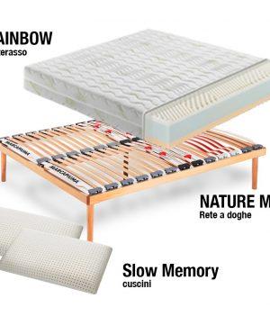 Sistema Letto Materasso Rainbow + Rete + Cuscini - Marcapiuma